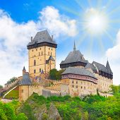 The Karlstejn castle. Royal palace of Charles IV (Karel IV) King of Bohemia and Emperor of Rome. Popular european gothic landmark since 1348. Czech Republic, Europe. poster