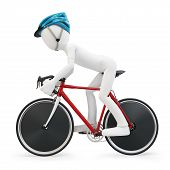 3d man with race bike