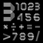 image of arabic numerals  - Font from scotch tape  - JPG