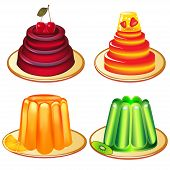 A Set Of Desserts Of Jelly On Plates