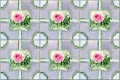 Antique Nyonya Tiles With Pink Rose