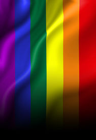 stock photo of gay pride  - Gay pride flag waving in the wind - JPG