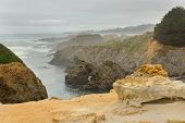 image of mendocino  - Fog over rugged terrane of Mendocino Headlands State Park - JPG