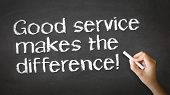 stock photo of courtesy  - A person drawing and pointing at a Good Service makes the difference Chalk Illustration - JPG
