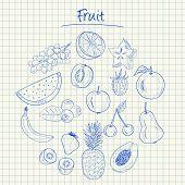 Fruit Doodles - Squared Paper