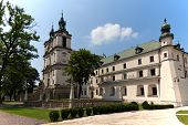 pic of stanislaus church  - view on church an churchyard on skalka in cracow in poland - JPG