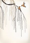 stock photo of willow  - two birds on a willow flying painting ink drop - JPG