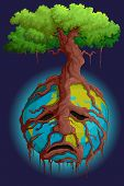 picture of pain-tree  - vector illustration of tree root holding Earth - JPG