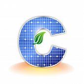 solar panels texture, alphabet capital letter C icon or symbol
