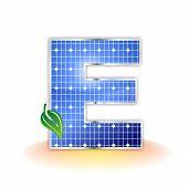 textura de paneles solares, alfabeto mayúscula E icono o símbolo