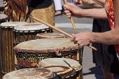 image of penticton  - Drummers playing at a Saturday market Penticton British Columbia Canada - JPG