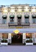 People are in famous Hard Rock cafe on Arbat street on June 05 2013 in Moscow Russia