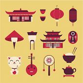 pic of drum-set  - Vector set of stylized chinese travel icons - JPG