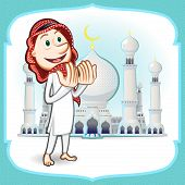 stock photo of fitri  - Moslem Islam Eid Mubarak Celebration Day Greeting Card - JPG