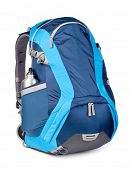 blue backpack, isolated over white.