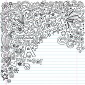 Straight A Star Student Scribble Inky Doodles- Back to School Notebook Doodle Design Elements on Lined Sketchbook Paper  Illustration