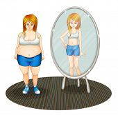 stock photo of skinny  - Illustration of a fat girl and her skinny reflection on a white background - JPG