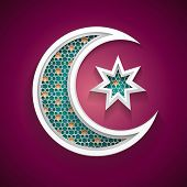 islamic background with a new moon and star vector
