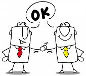 it's ok. two businessmen shaking hands.