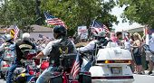 PENSACOLA, FL - JUNE 22: Patriot Riders and more gather at church of fallen Army SSGT Jesse Thomas i