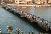 Sunset view of El-Tahrire bridge in Cairo
