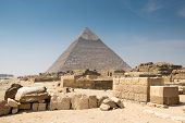 pic of the great pyramids  - Pyramid of Khafre in Great pyramids complex in Giza - JPG