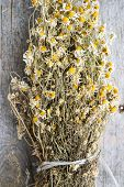 Dried chamomile or Matricaria chamomilla on wood