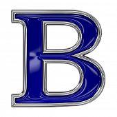Metall Silber und blau Alphabet-Buchstaben-Symbol - B