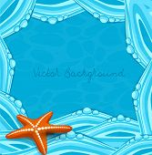 vector blue background with ocean waves and starfish