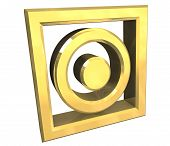 Tumble Dry Symbol In Gold Isolated - 3D