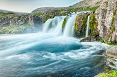 pic of fjord  - Dynjandi is the most famous waterfall of the West Fjords and one of the most beautiful waterfalls in the whole Iceland - JPG