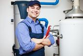 foto of pipefitter  - Technician servicing an hot - JPG