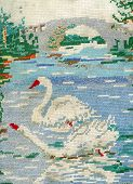 Embroidered Swans