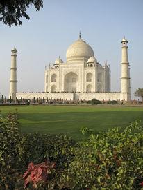 stock photo of mumtaj  - The Taj Mahal was built at Agra Uttar Pradesh India by Emperor Shah Jahan as a mausoleum for his wife Mumtaj in 1631 AD - JPG