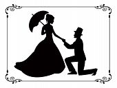 retro silhouettes of people in love in a frame