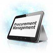 Finance concept: Procurement Management on tablet pc computer