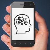 Education concept: Head With Finance Symbol on smartphone