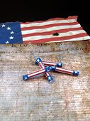image of betsy ross  - The Declaration of Independence with red, white & blue Firecrackers and the Betsy Ross Flag
