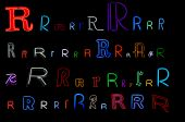 neon letter R collection