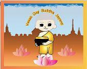 Buddhistic Card- Visak Card with Lotus
