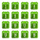 May vector flat calendar icons. Days Of Year Set 15