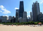 Volleyball Players At Ohio Beach, Chicago