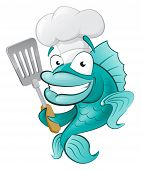 stock photo of cod  - Cute Chef Fish with Spatula - JPG