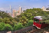 foto of tram  - The Victoria Peak Tram and Hong Kong city skyline - JPG