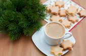 Christmas Star Cookies with coffee
