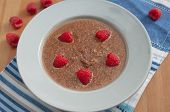 Chocolate Quinoa Milk Rice Pudding with raspberries