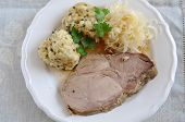 Roasted Pork with bread dumplings and sauerkraut