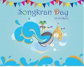 Songkran Day Card-Songkran festival by sand temple