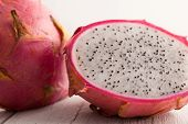 Halved Dragon Fruit .