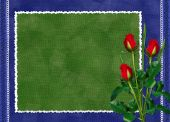Green Card With Red Rose On The Darkblue Background
